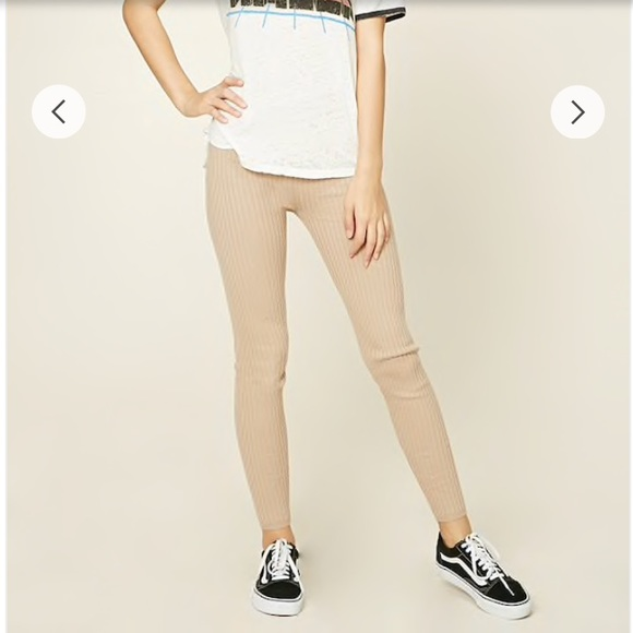 Discover cute cheap custom Forever 21 ribbed knit leggings in the color tan NWT
